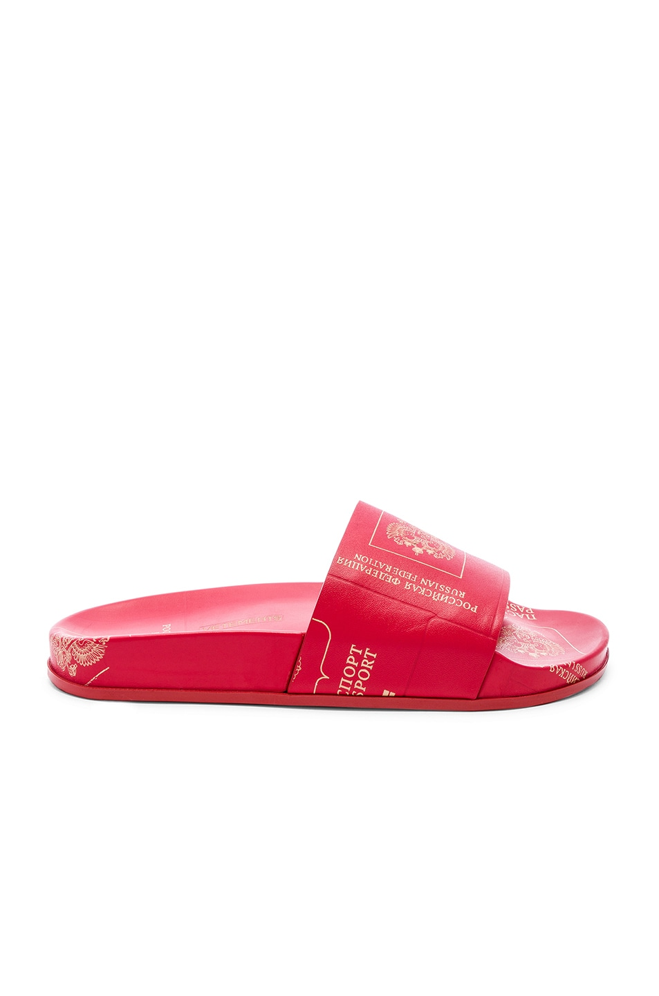 Image 2 of VETEMENTS Leather Passport Slides in Red