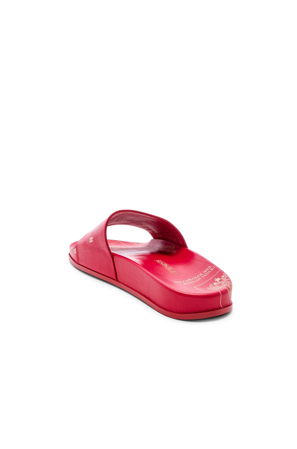 Image 3 of VETEMENTS Leather Passport Slides in Red