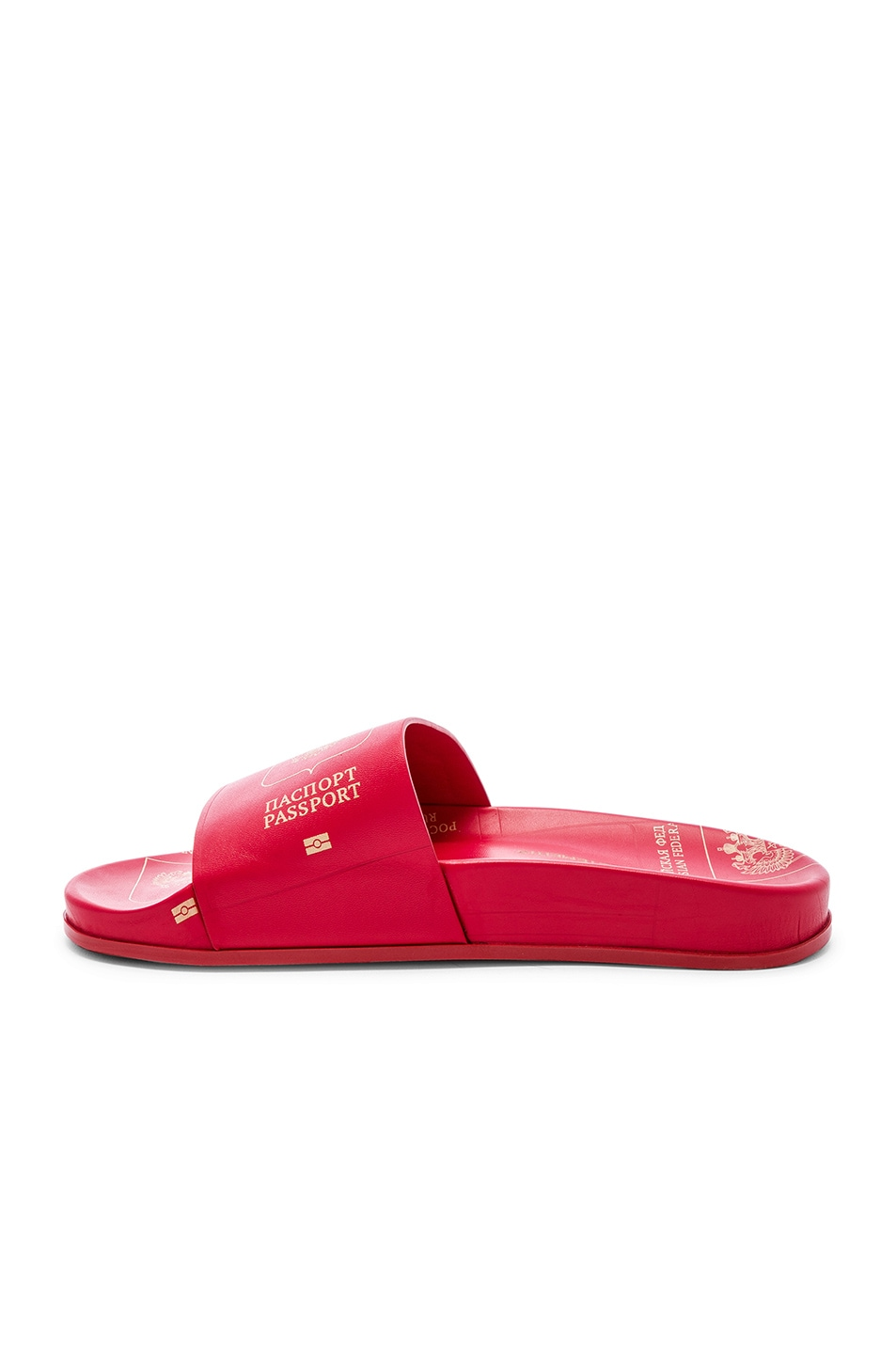 Image 4 of VETEMENTS Leather Passport Slides in Red
