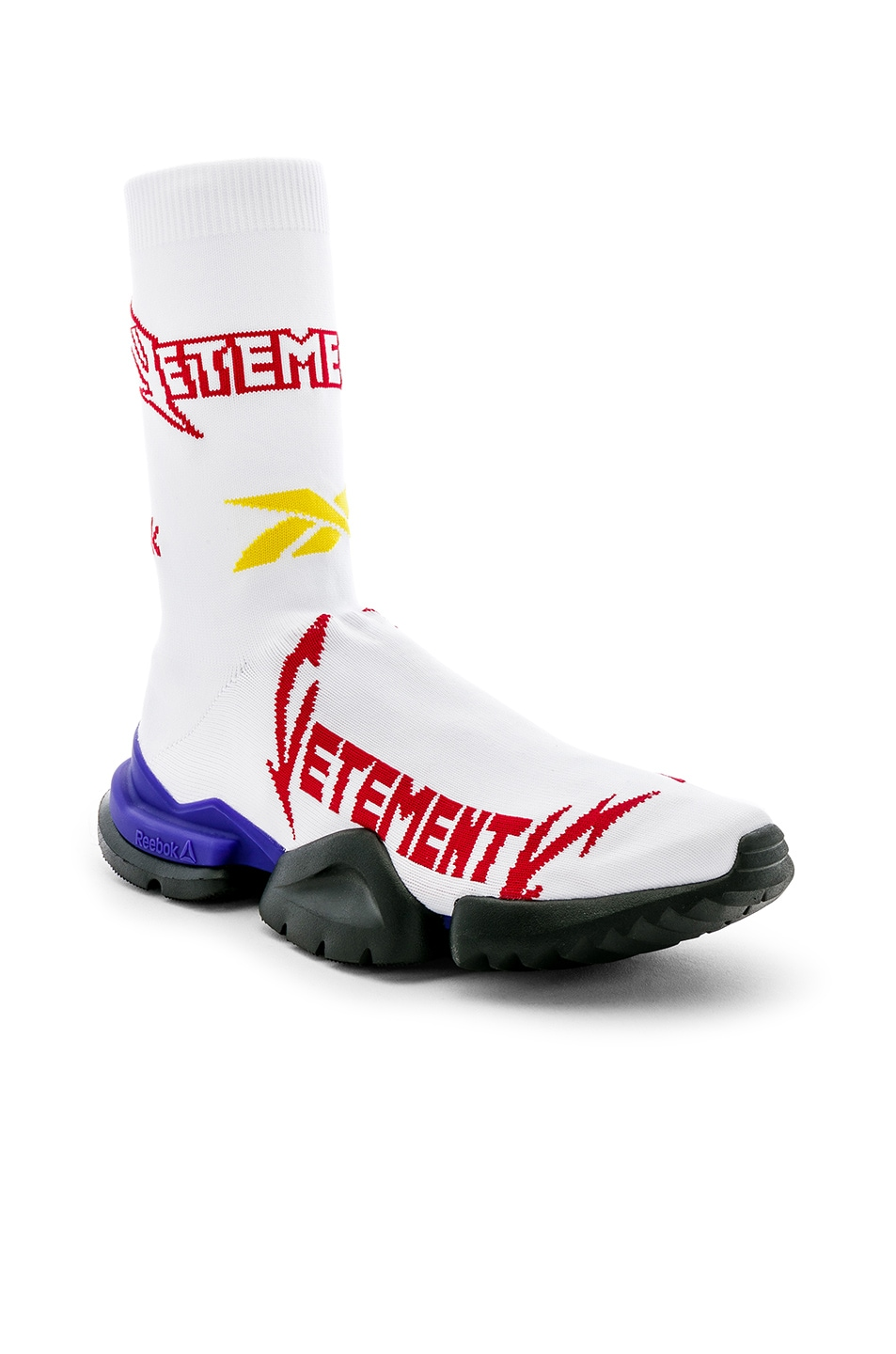 Image 1 of VETEMENTS Cut Up Sock Boots in White & Red
