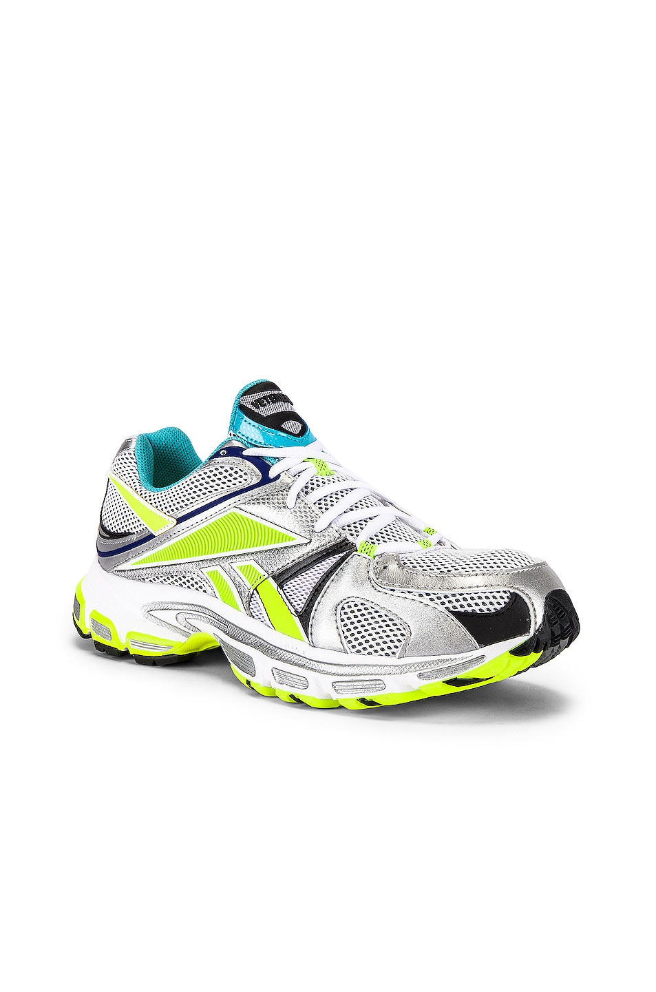 Image 1 of VETEMENTS Spike Runner 200 in White & Silver & Lime