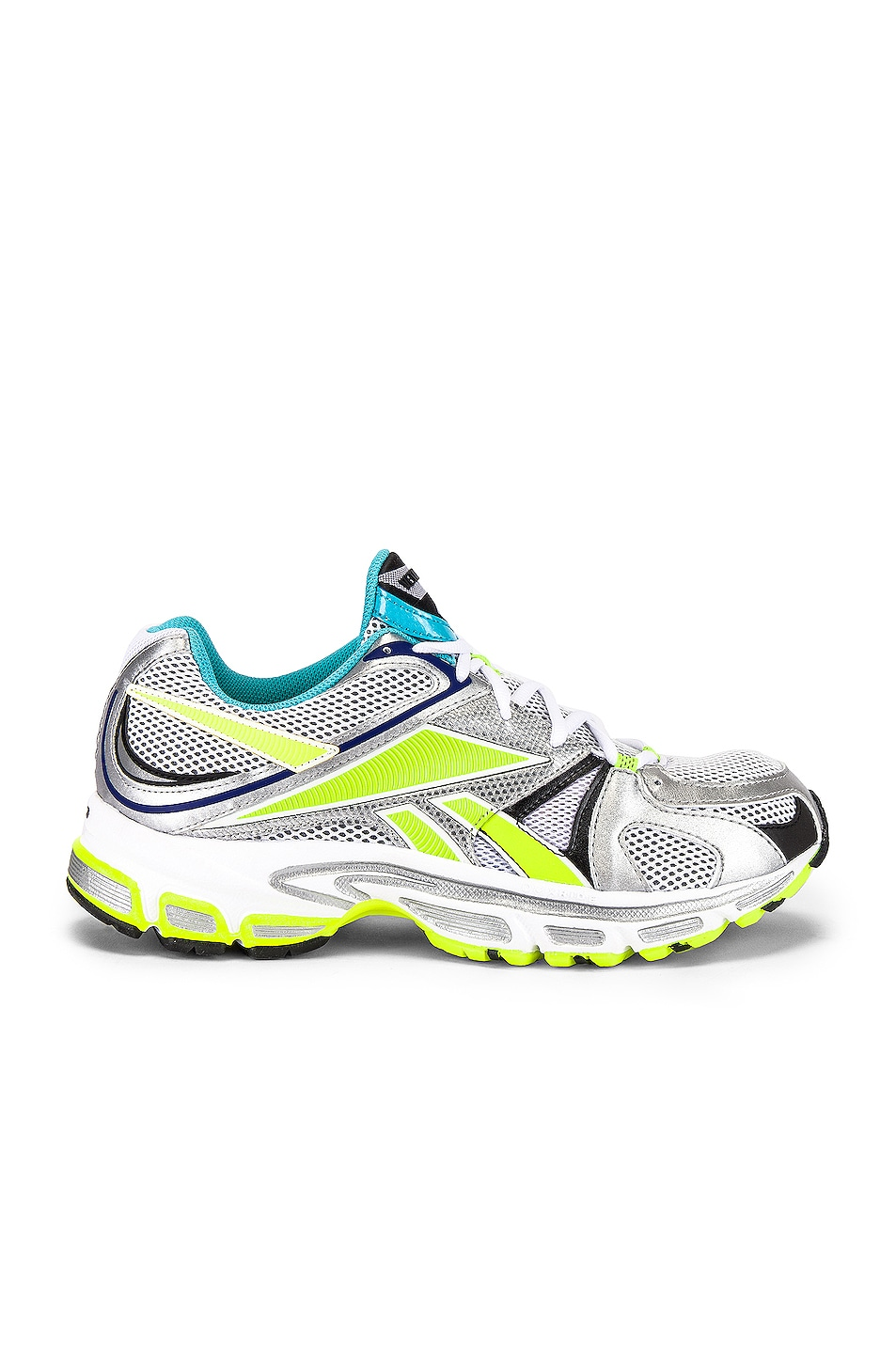 Image 2 of VETEMENTS Spike Runner 200 in White & Silver & Lime