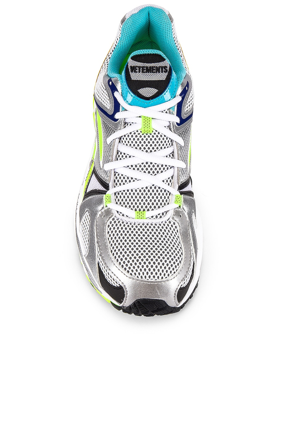 Image 4 of VETEMENTS Spike Runner 200 in White & Silver & Lime