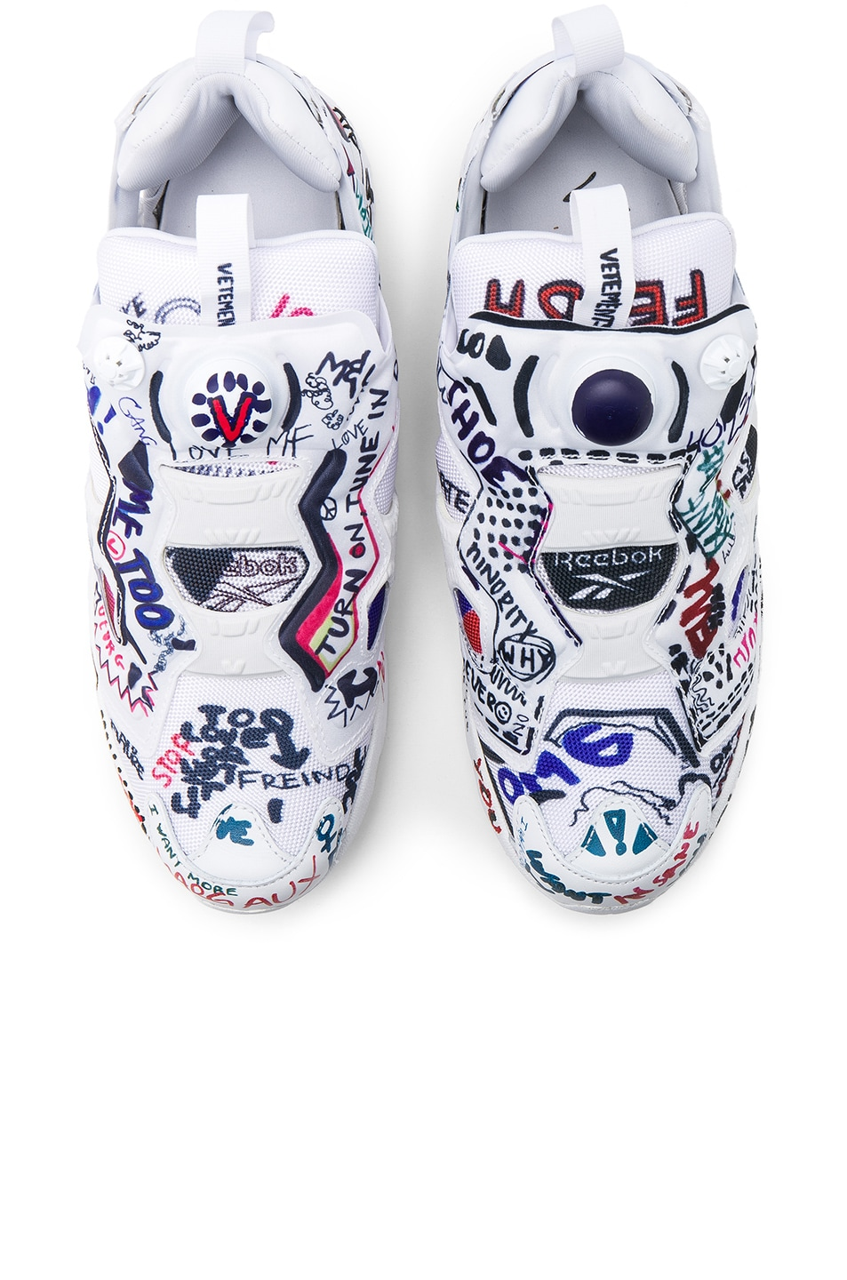 bcea3179 Image 1 of VETEMENTS x Reebok Graffiti Instapump Fury in White