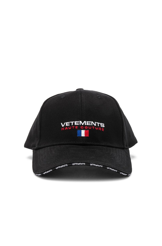 Image 1 of VETEMENTS Haute Couture Cap in Black