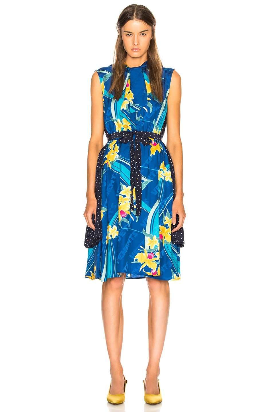 Image 1 of VETEMENTS Printed Sleeveless Double Dress in Blue Flower & Polka Dots