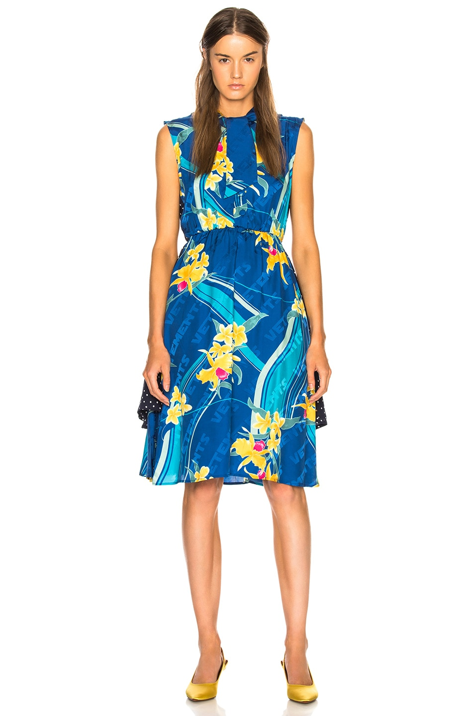 Image 2 of VETEMENTS Printed Sleeveless Double Dress in Blue Flower & Polka Dots