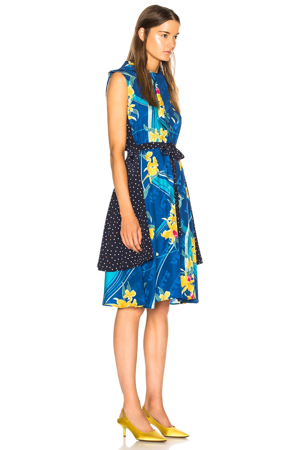 Image 3 of VETEMENTS Printed Sleeveless Double Dress in Blue Flower & Polka Dots