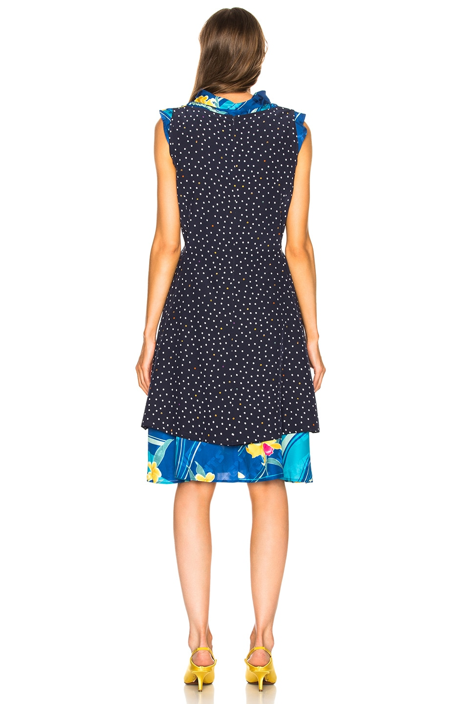Image 4 of VETEMENTS Printed Sleeveless Double Dress in Blue Flower & Polka Dots