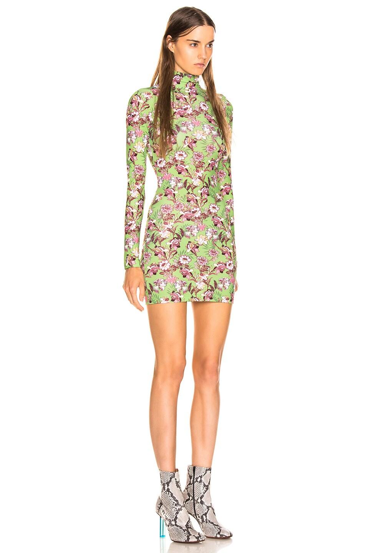 Image 2 of VETEMENTS Long Sleeve Body Dress in Green Flowers