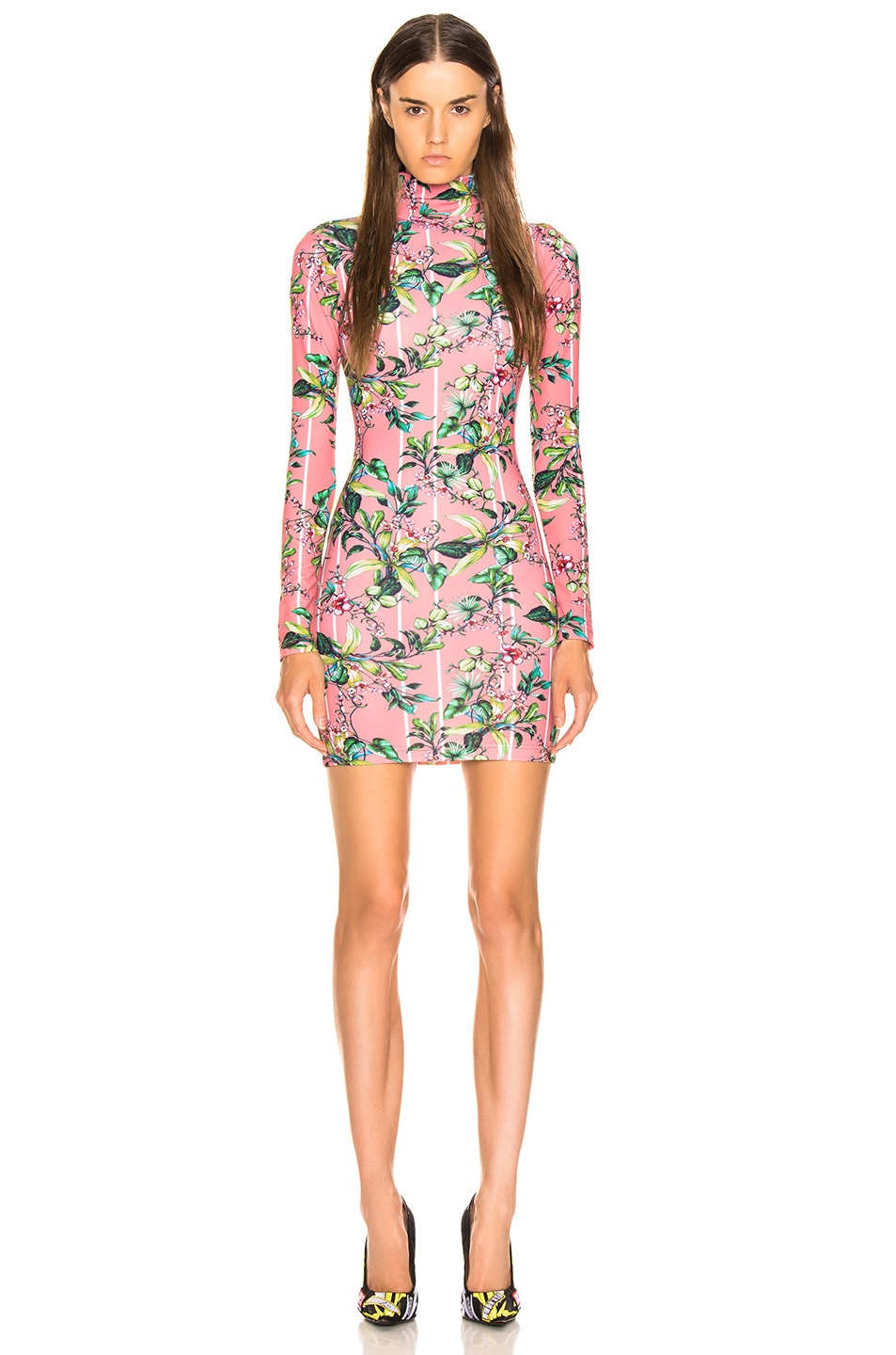 Image 1 of VETEMENTS Long Sleeve Body Dress in Pink Flowers