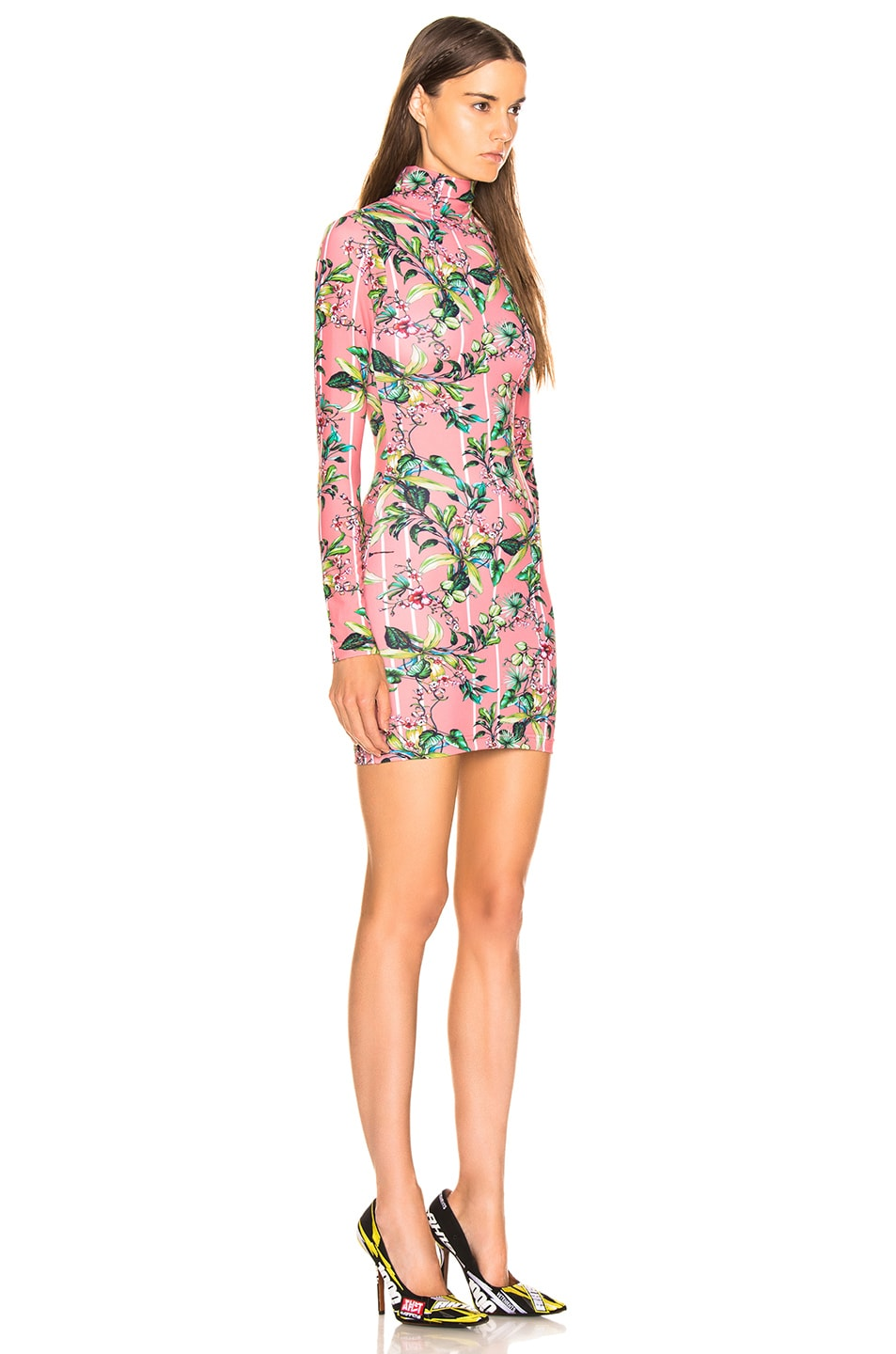 Image 2 of VETEMENTS Long Sleeve Body Dress in Pink Flowers