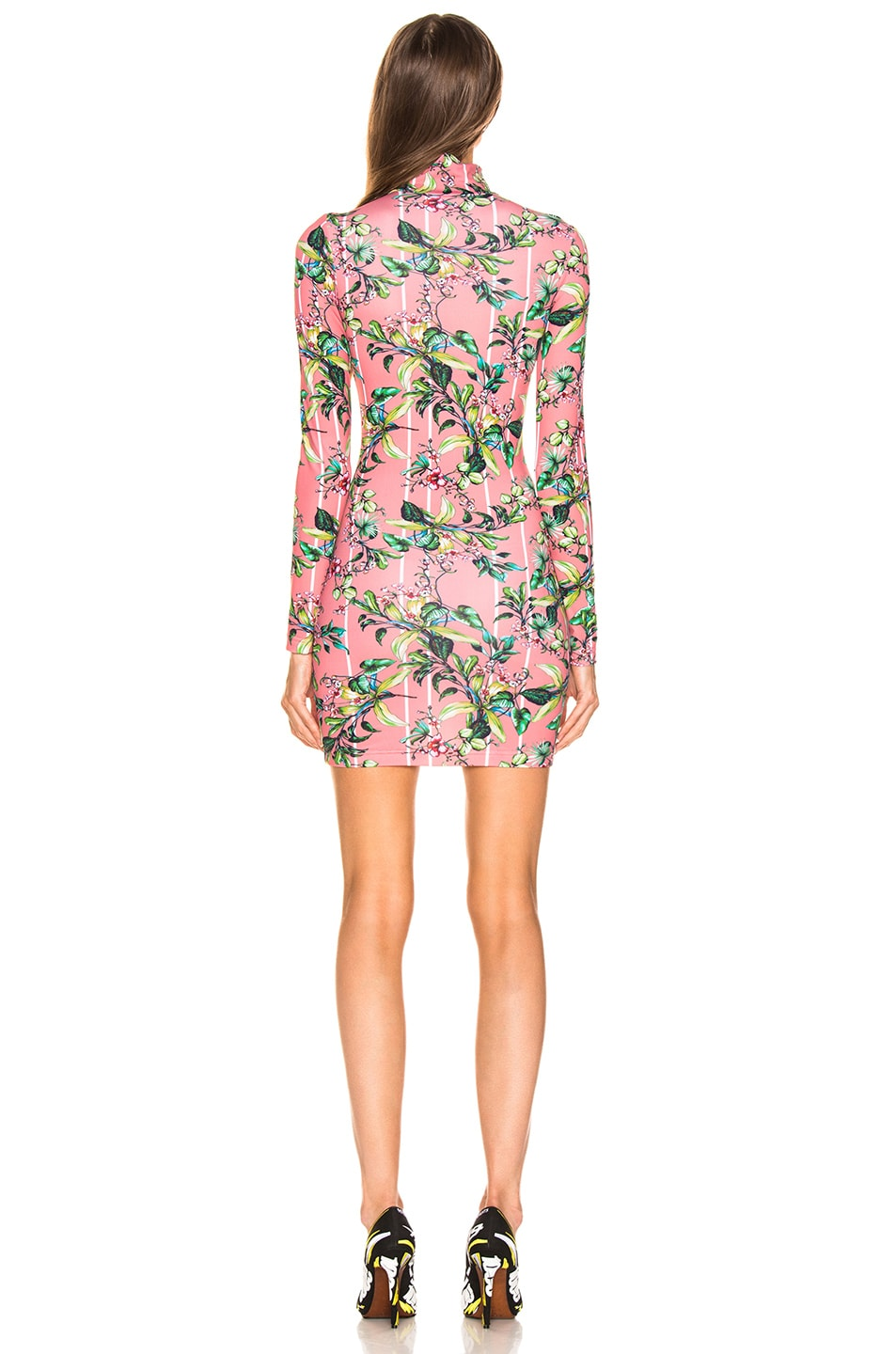 Image 3 of VETEMENTS Long Sleeve Body Dress in Pink Flowers
