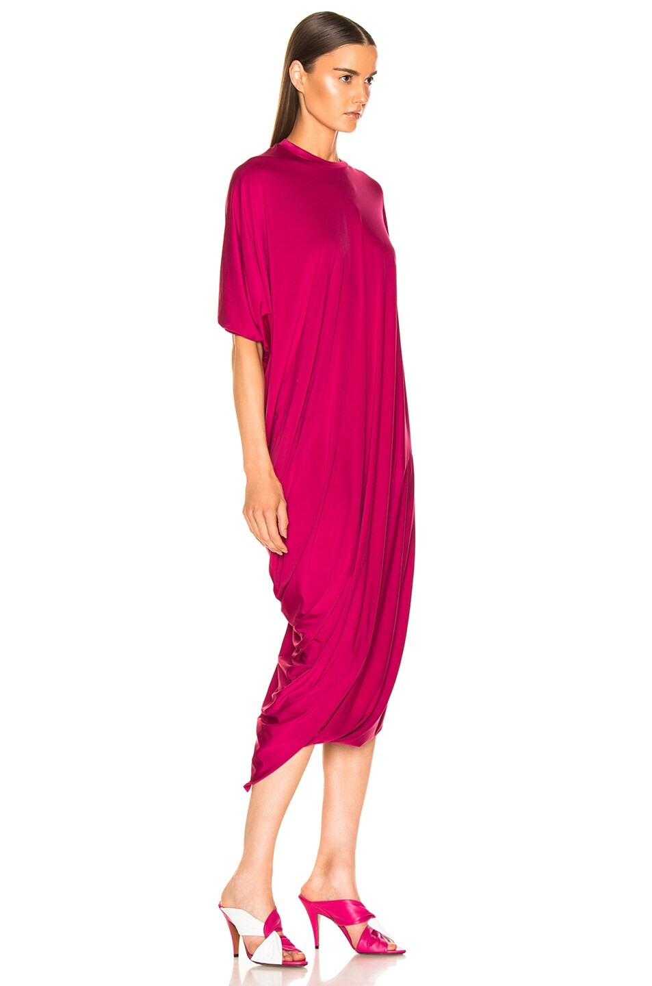 Image 2 of VETEMENTS Asymmetric Evening Dress in Fuchsia
