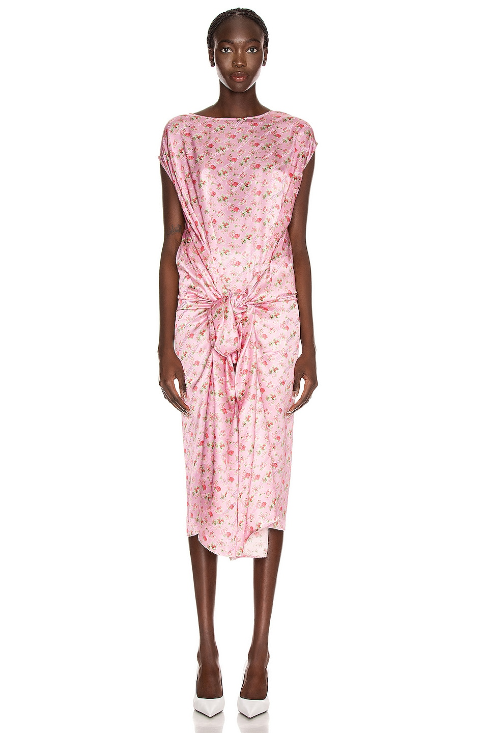 Image 1 of VETEMENTS Lining Dress in Pink Flowers