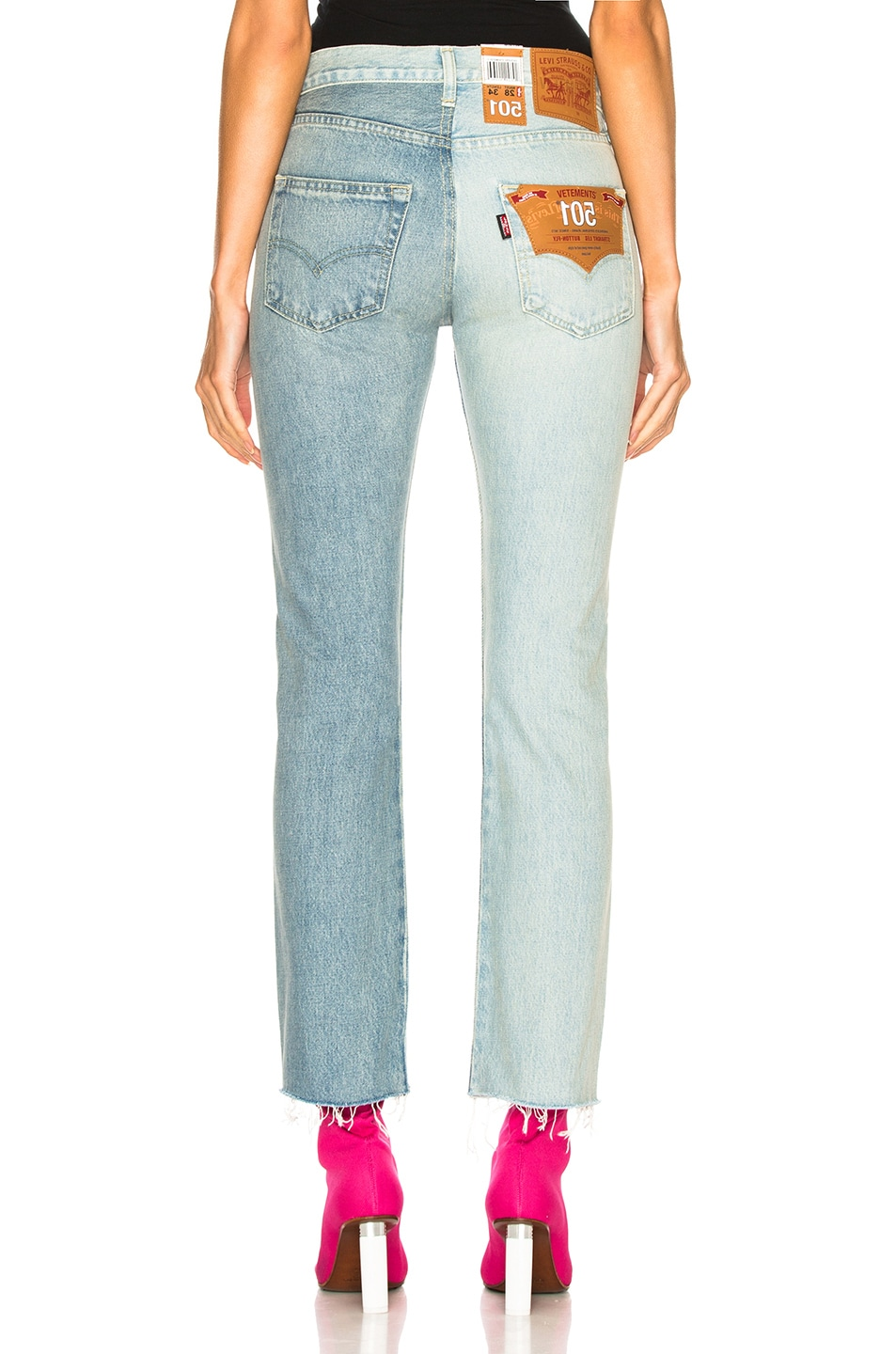 Image 4 of VETEMENTS x Levis Two Tone Cropped Jeans in Blue