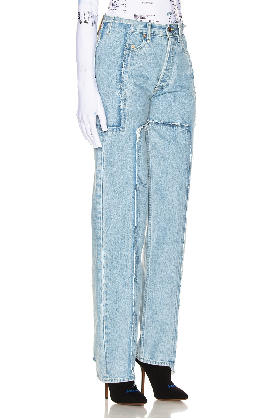 Image 2 of VETEMENTS Frayed Denim in Light Blue