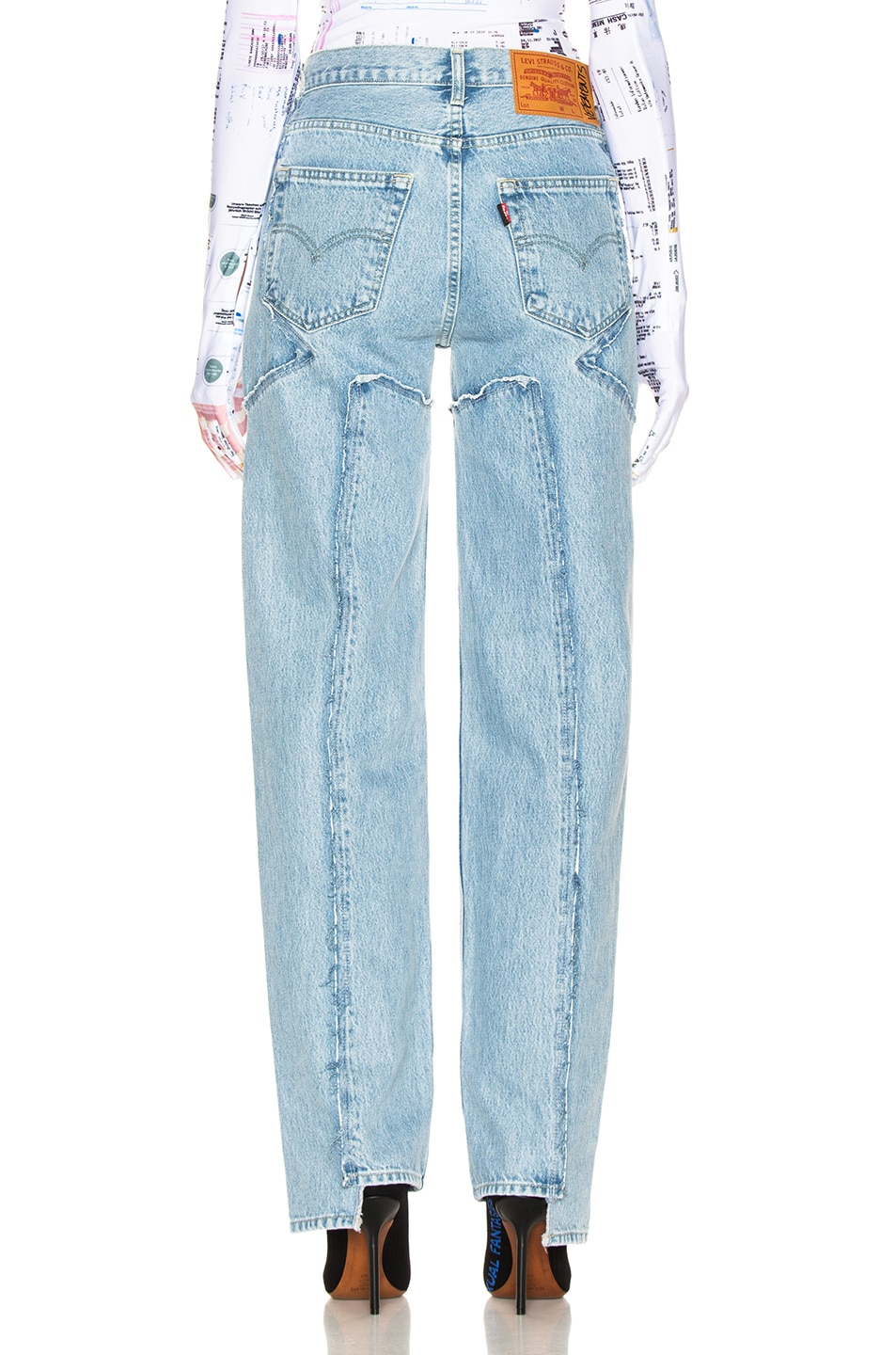 Image 3 of VETEMENTS Frayed Denim in Light Blue