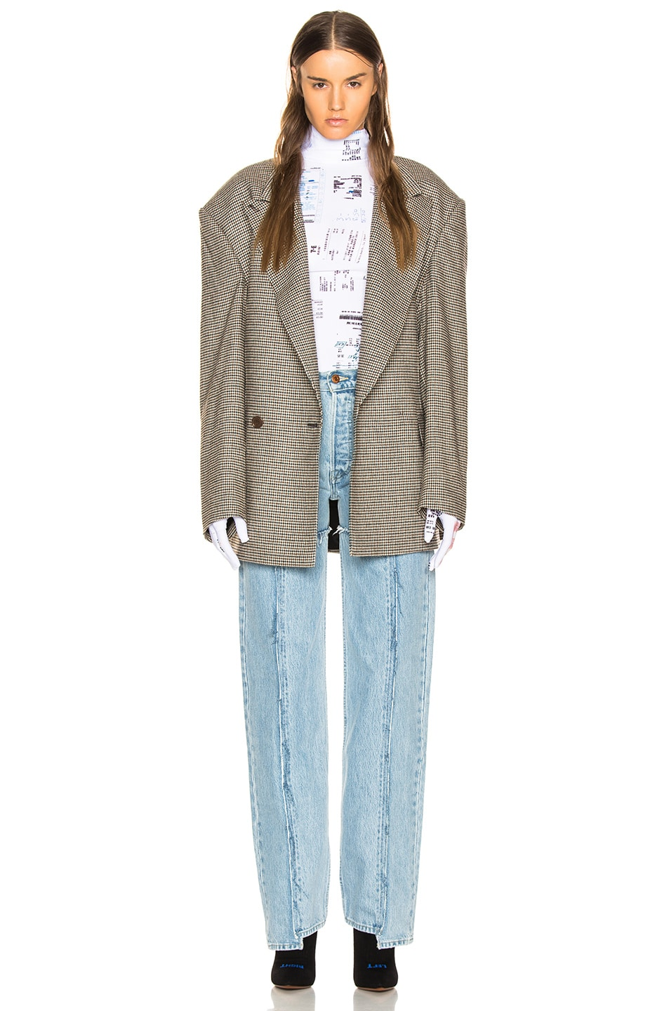 Image 4 of VETEMENTS Frayed Denim in Light Blue