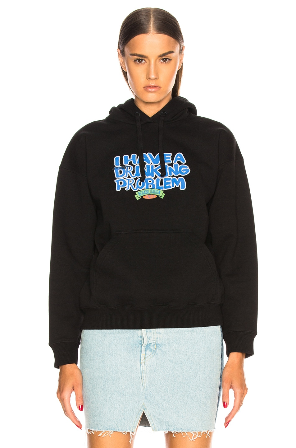 Image 1 of VETEMENTS Graphic Fitted Hoodie in Black