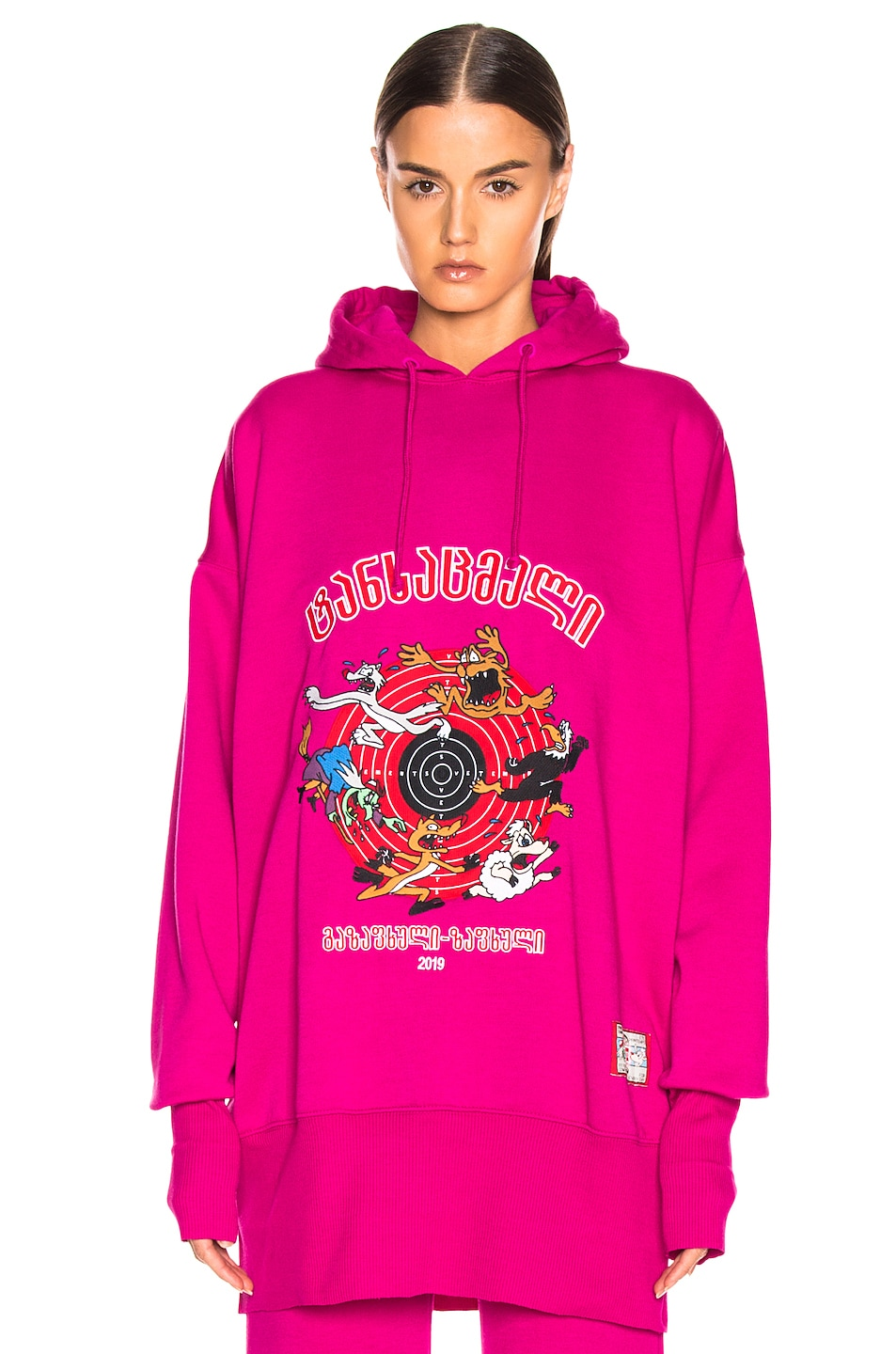 Image 2 of VETEMENTS Cartoon Hoodie in Fuchsia