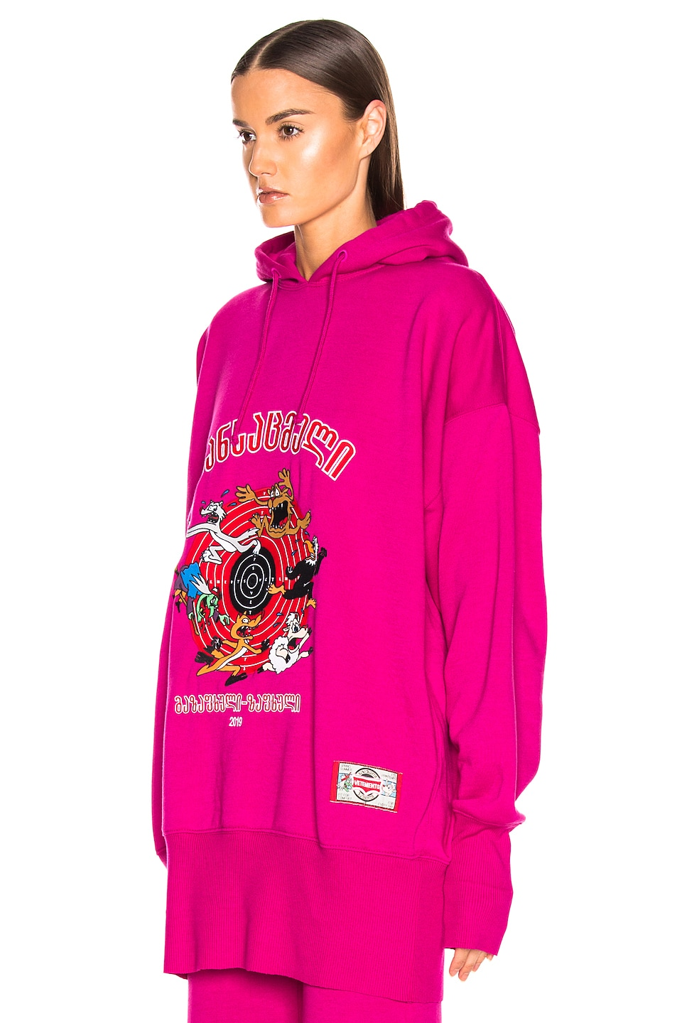 Image 4 of VETEMENTS Cartoon Hoodie in Fuchsia
