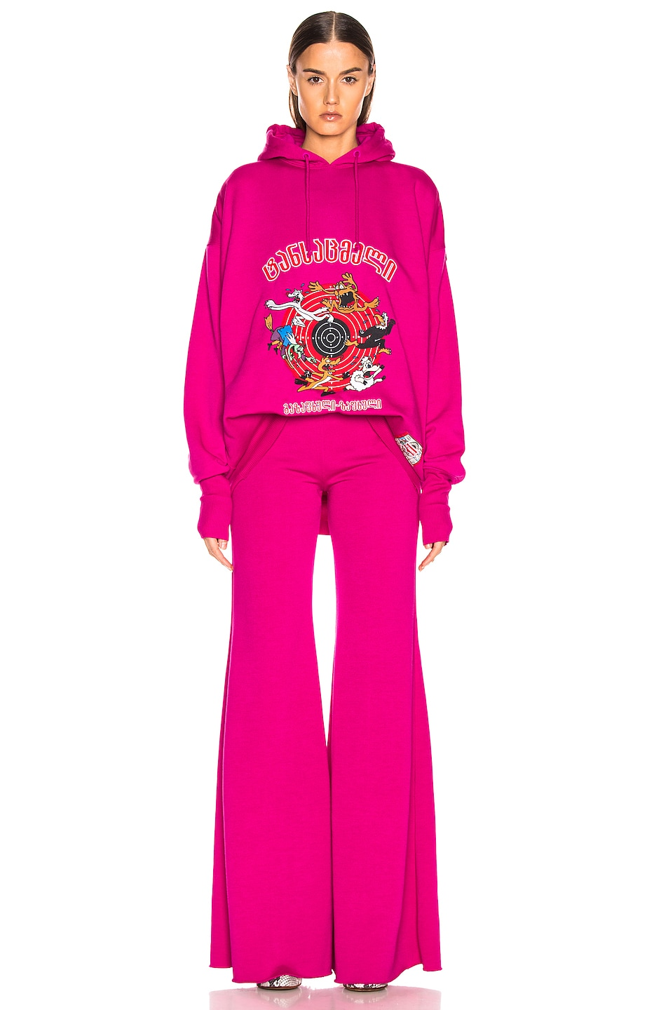 Image 6 of VETEMENTS Cartoon Hoodie in Fuchsia