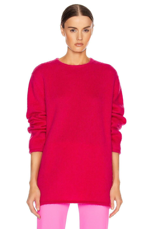 Image 1 of VETEMENTS Open Back Knit Sweater in Raspberry