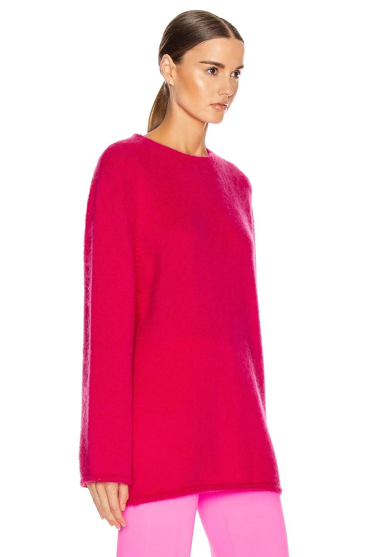 Image 2 of VETEMENTS Open Back Knit Sweater in Raspberry