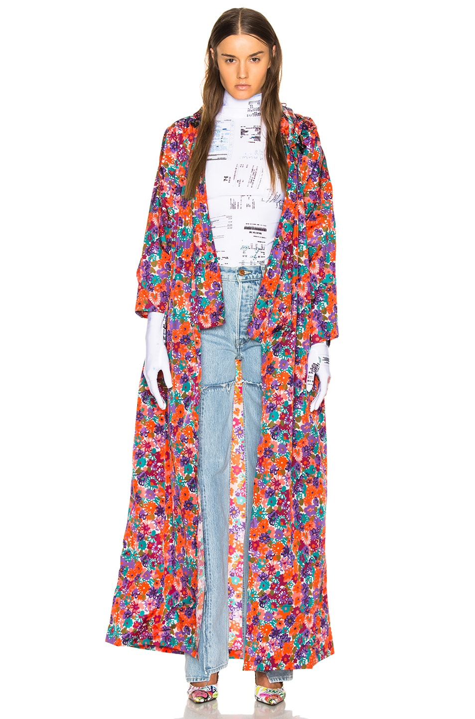 Image 1 of VETEMENTS Kimono Raincoat in Orange & Flowers