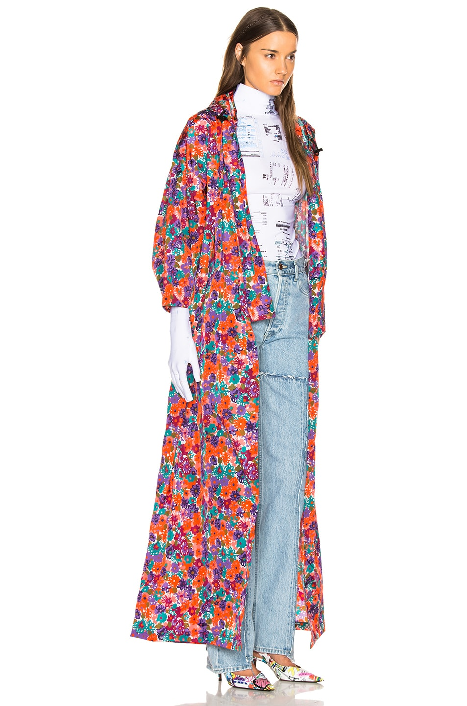 Image 3 of VETEMENTS Kimono Raincoat in Orange & Flowers