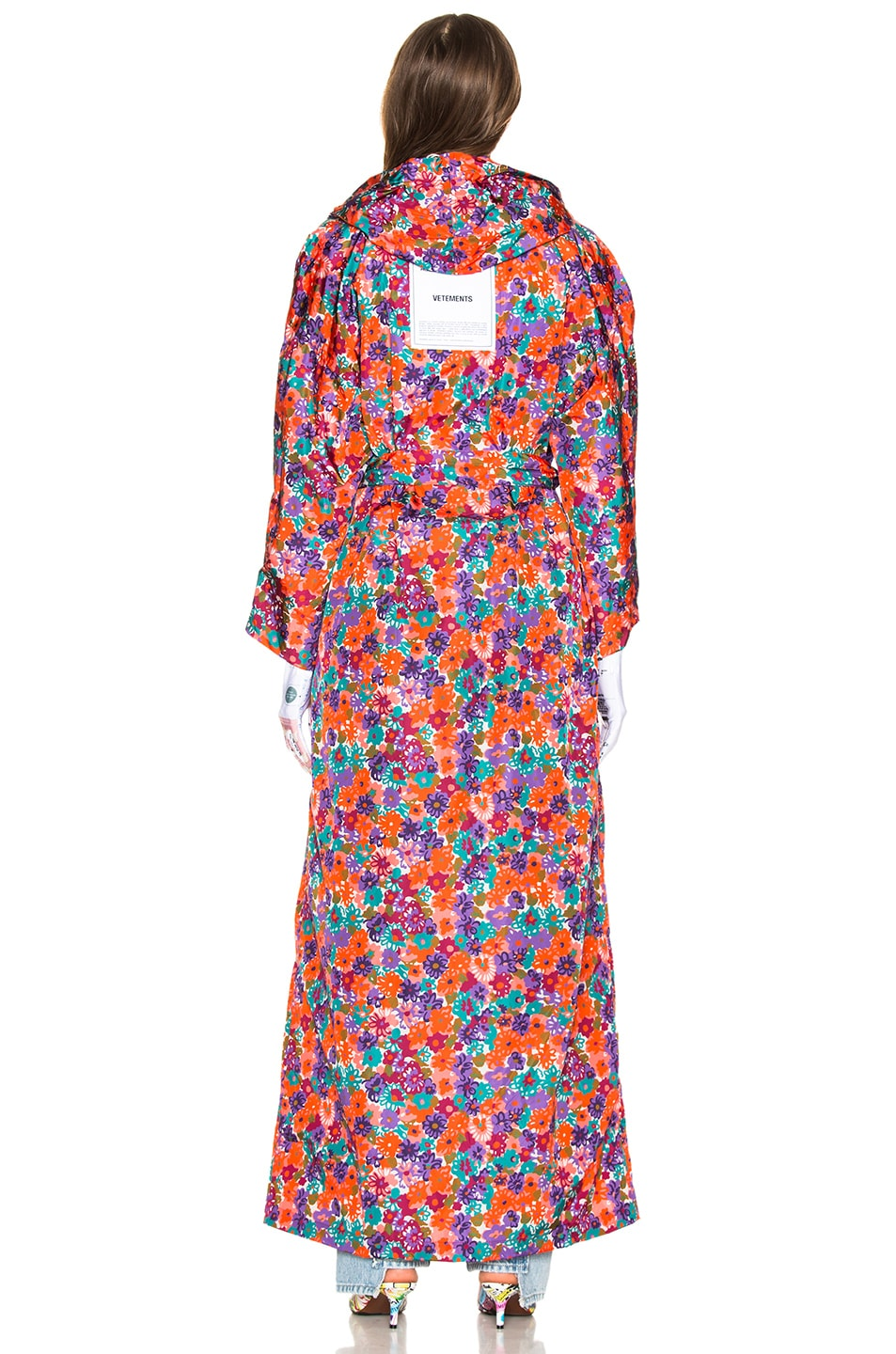 Image 4 of VETEMENTS Kimono Raincoat in Orange & Flowers