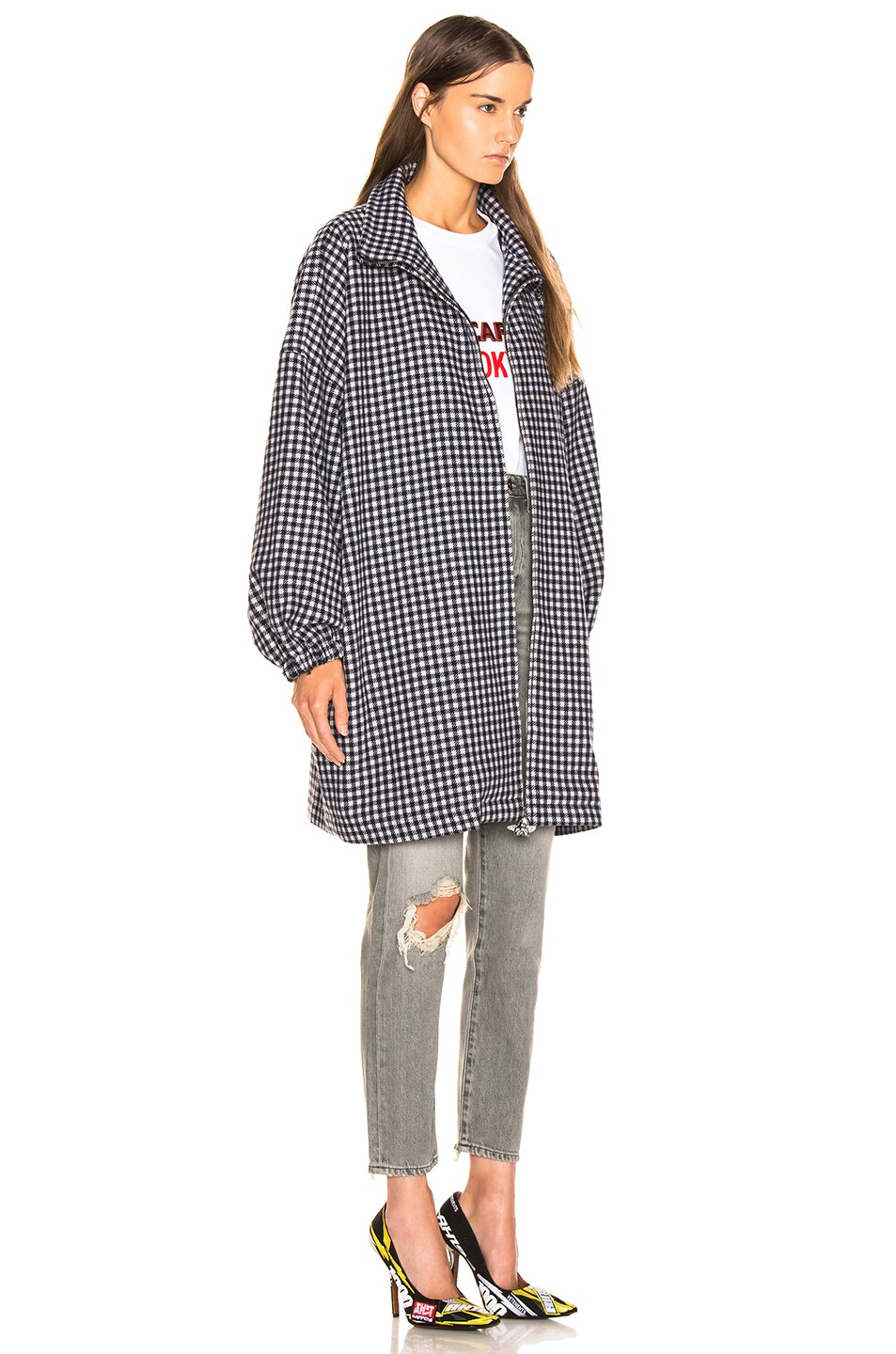 Image 3 of VETEMENTS Angel Peacoat in Navy & White