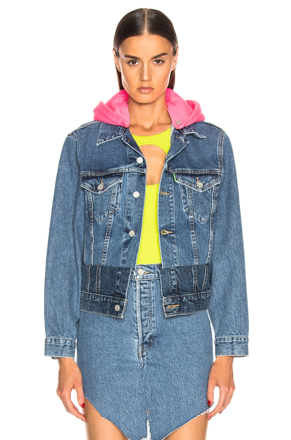 Image 1 of VETEMENTS Hooded Denim Jacket in Blue & Pink
