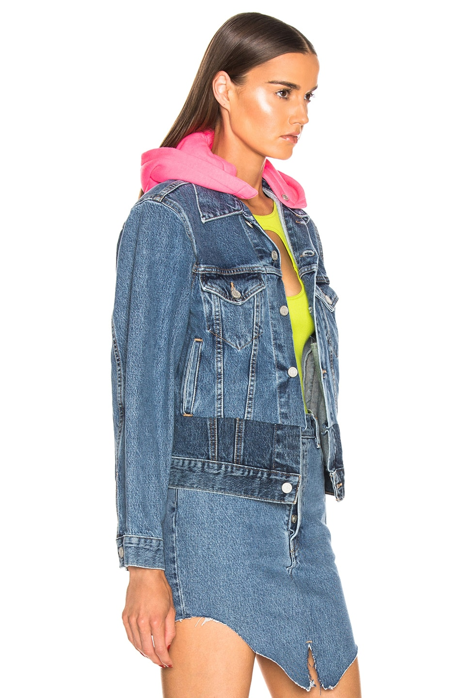 Image 2 of VETEMENTS Hooded Denim Jacket in Blue & Pink