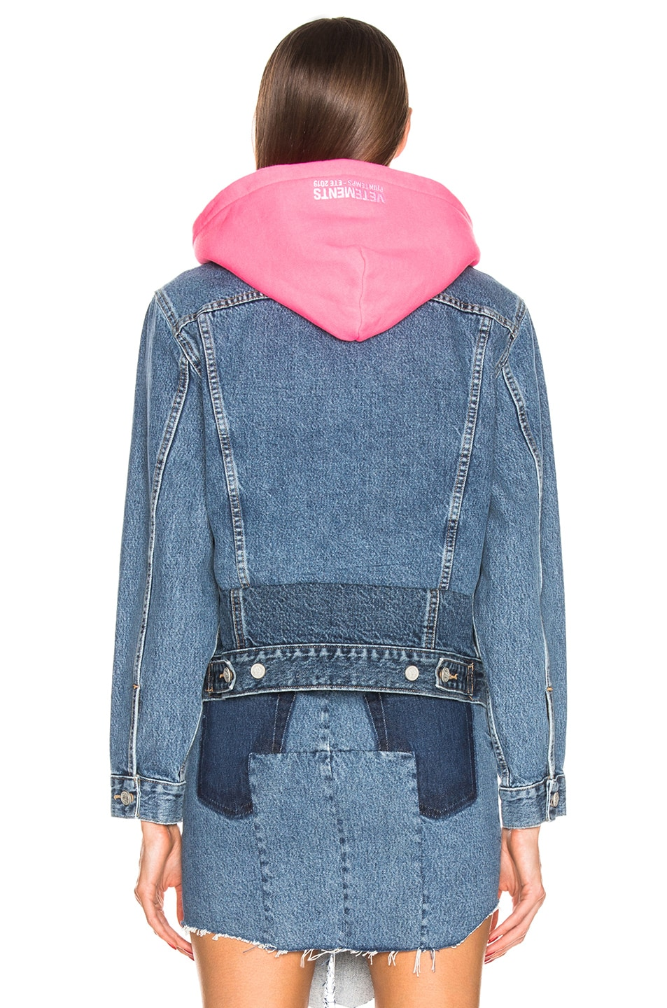 Image 3 of VETEMENTS Hooded Denim Jacket in Blue & Pink