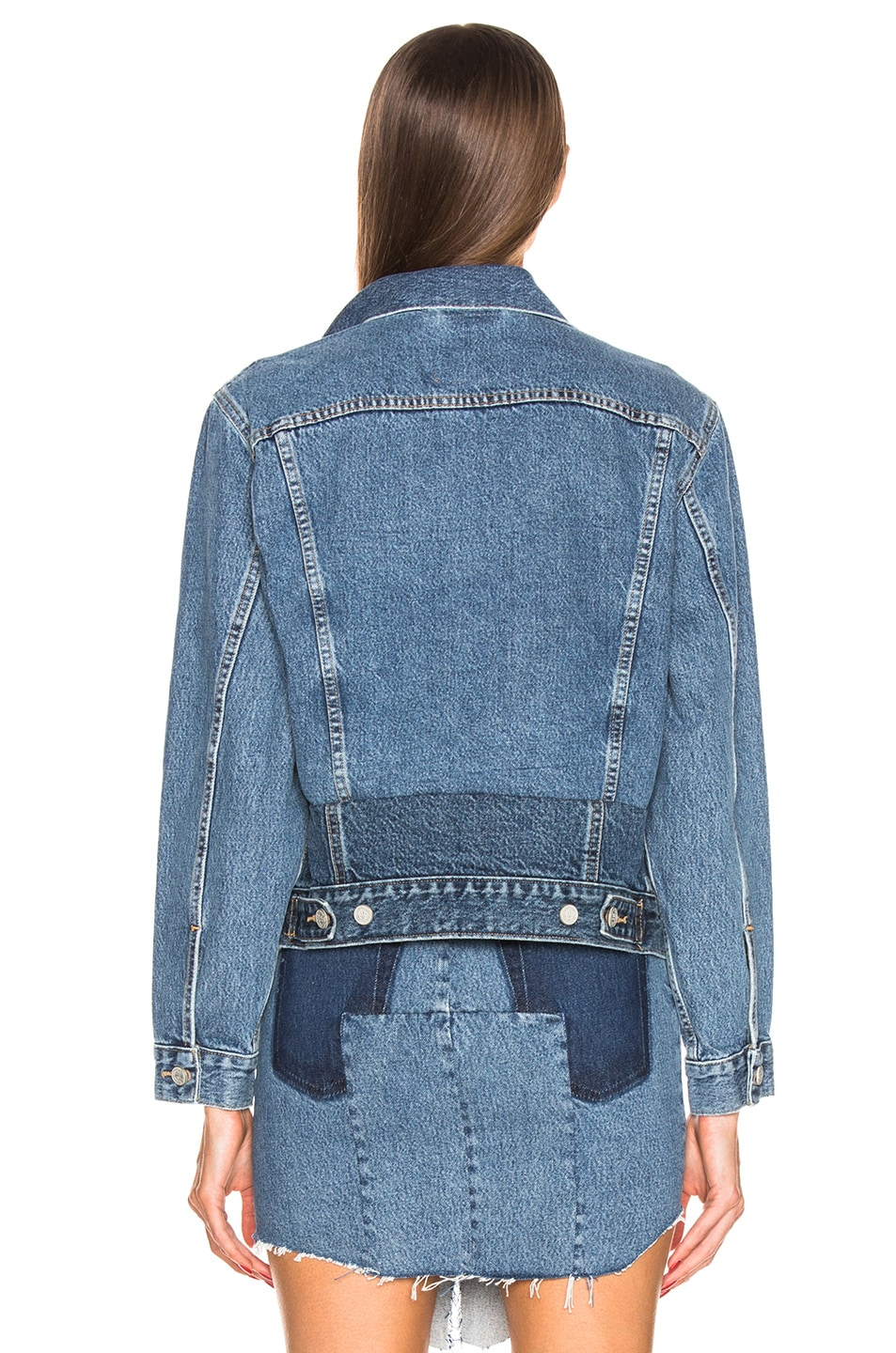 Image 4 of VETEMENTS Hooded Denim Jacket in Blue & Pink