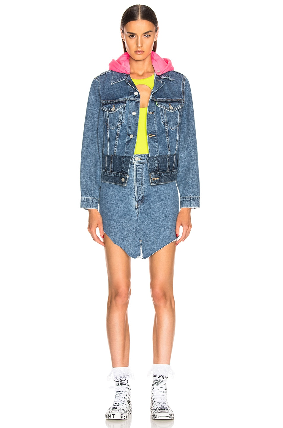 Image 5 of VETEMENTS Hooded Denim Jacket in Blue & Pink