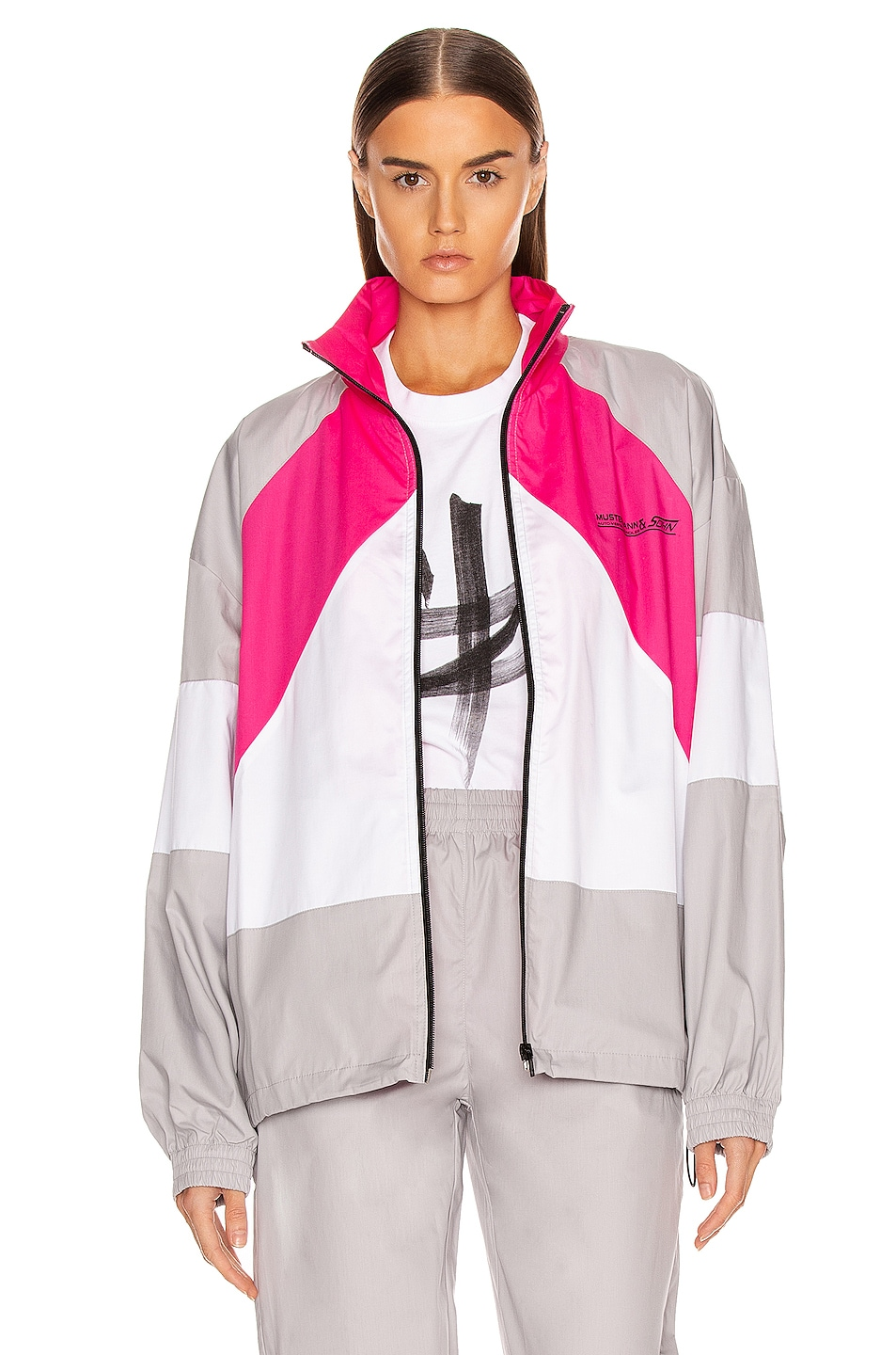 Image 1 of VETEMENTS Tracksuit Jacket in Grey & Pink & White