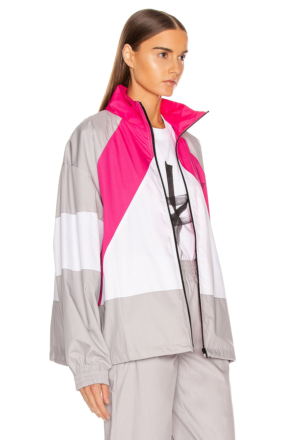 Image 3 of VETEMENTS Tracksuit Jacket in Grey & Pink & White