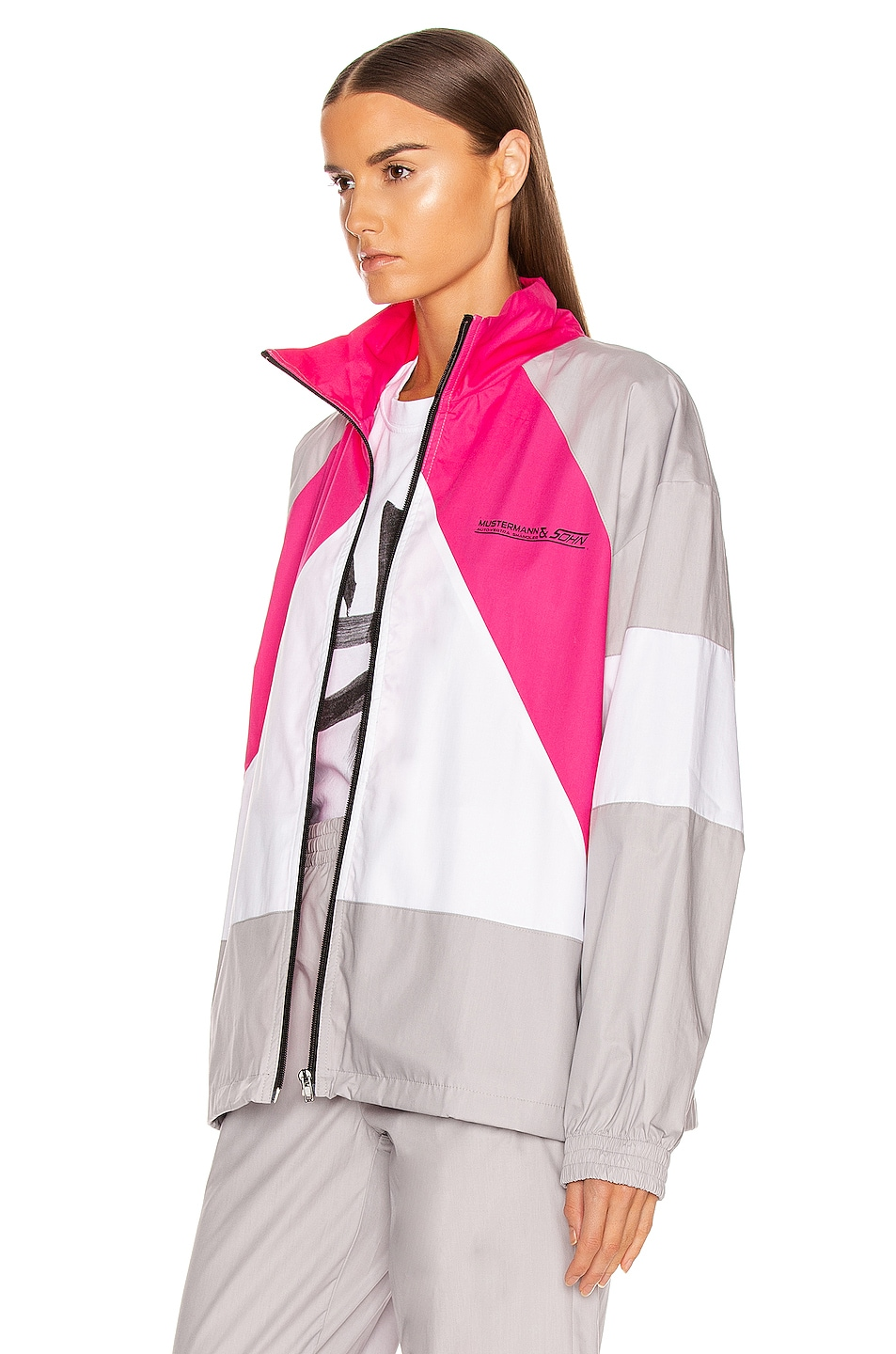 Image 4 of VETEMENTS Tracksuit Jacket in Grey & Pink & White