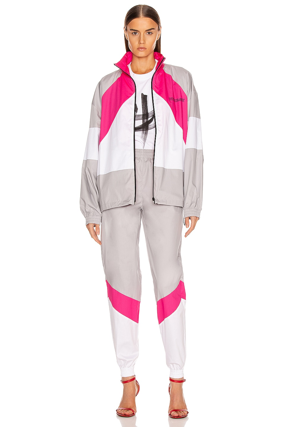 Image 6 of VETEMENTS Tracksuit Jacket in Grey & Pink & White