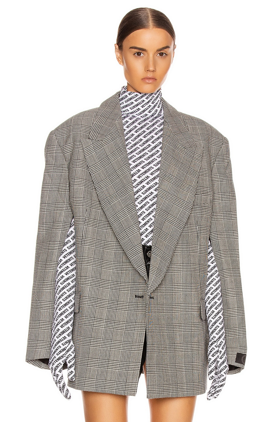 Image 1 of VETEMENTS Open Sleeve Jacket in Black & White Check
