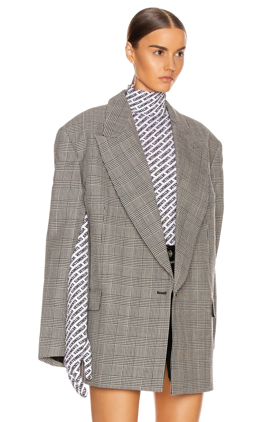 Image 3 of VETEMENTS Open Sleeve Jacket in Black & White Check