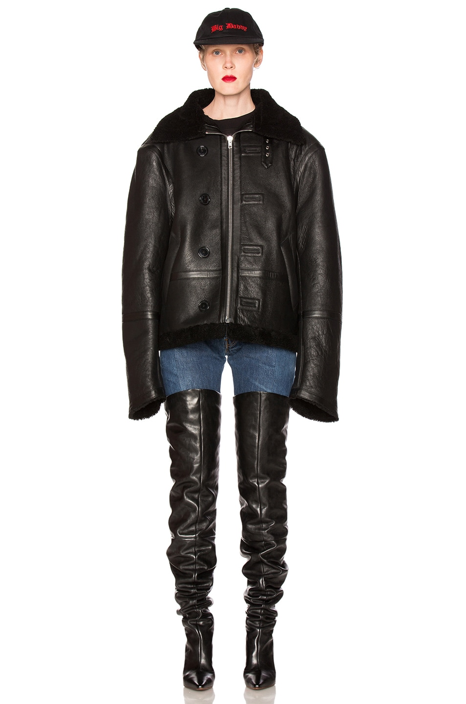 Image 2 of VETEMENTS Oversized Sheep Shearling Jacket in Black
