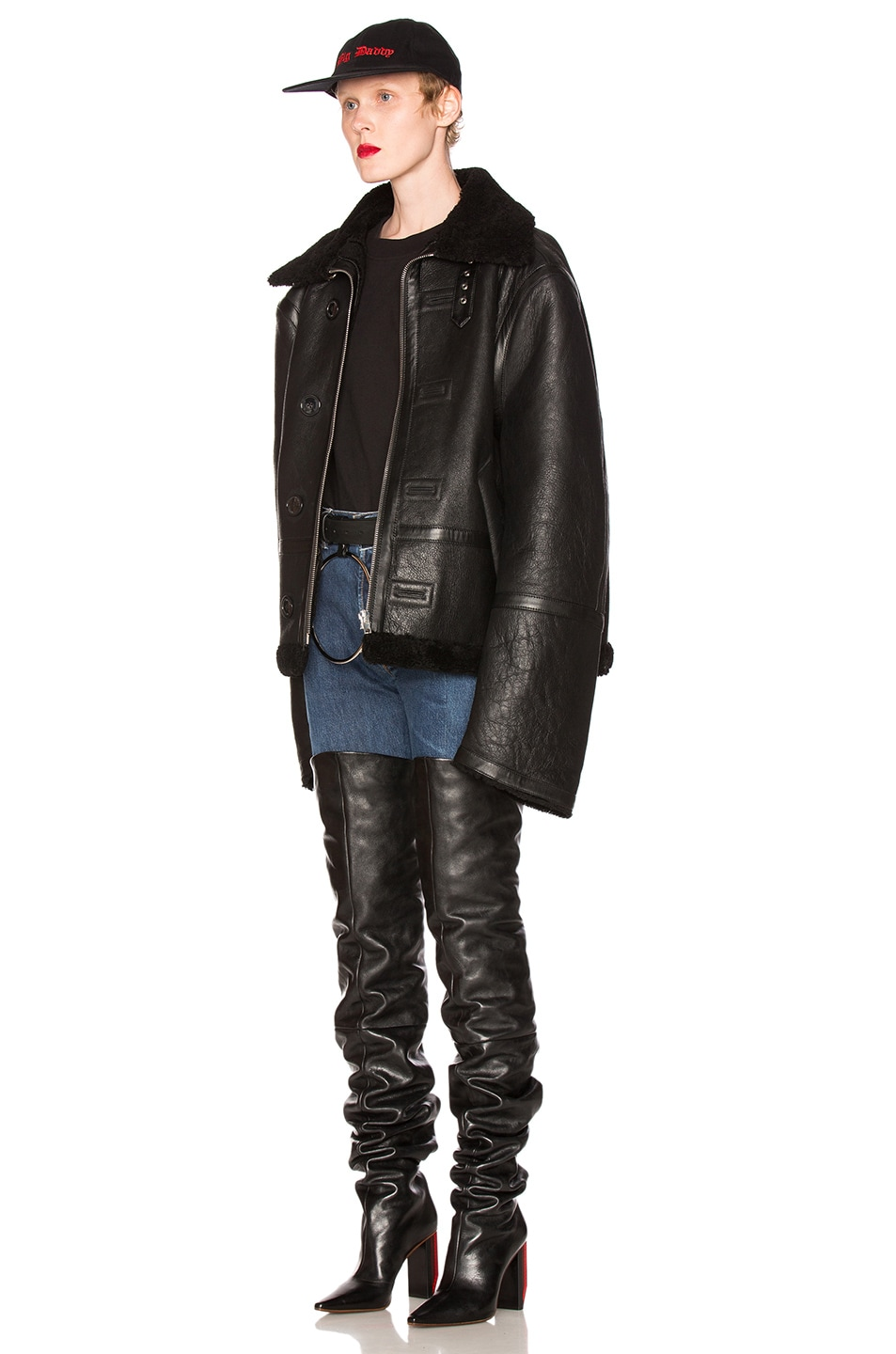 Image 3 of VETEMENTS Oversized Sheep Shearling Jacket in Black