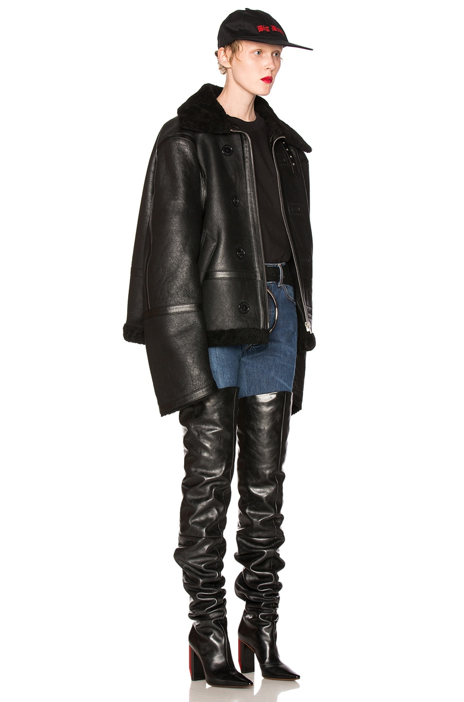 Image 4 of VETEMENTS Oversized Sheep Shearling Jacket in Black
