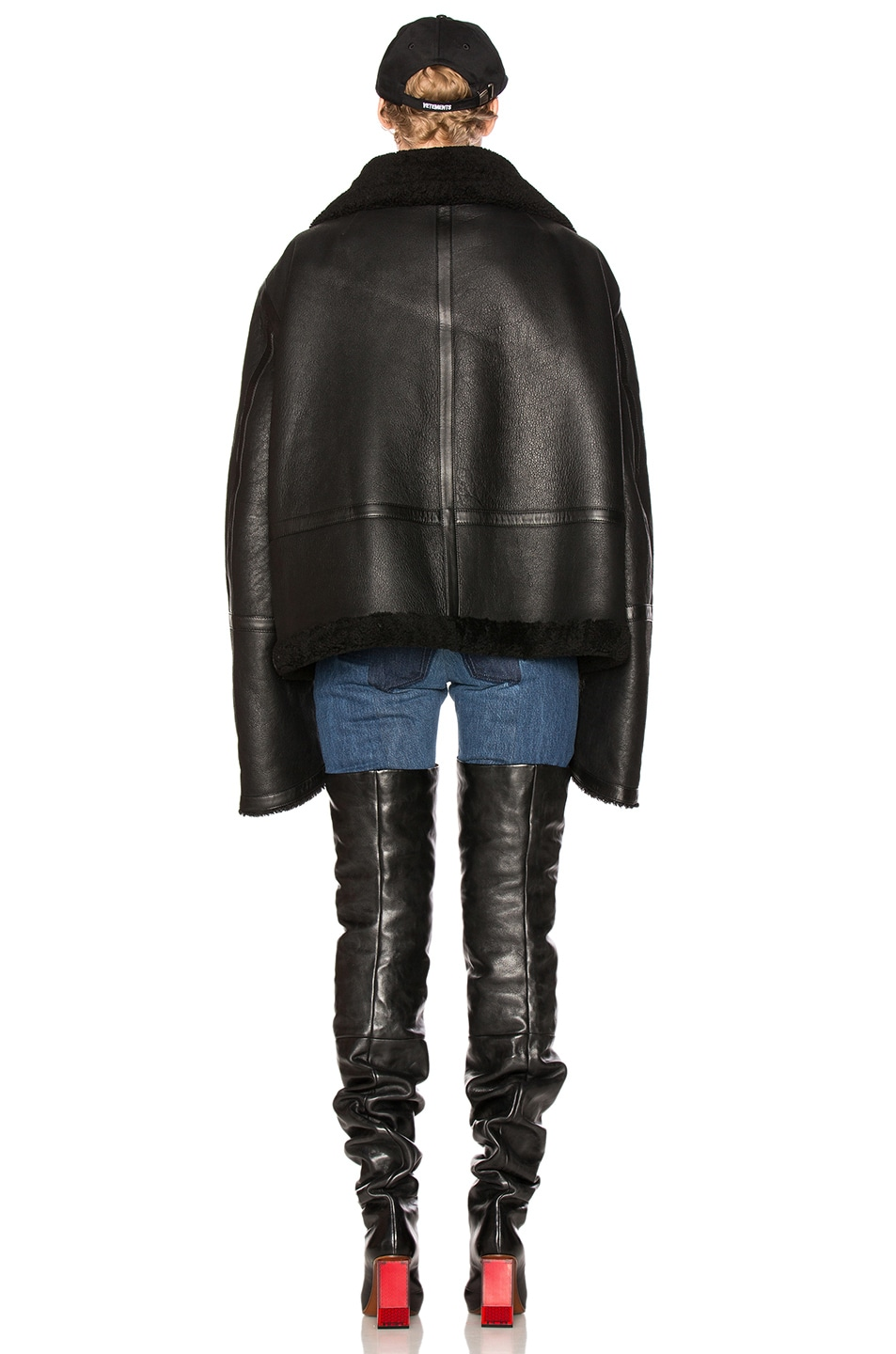 Image 5 of VETEMENTS Oversized Sheep Shearling Jacket in Black