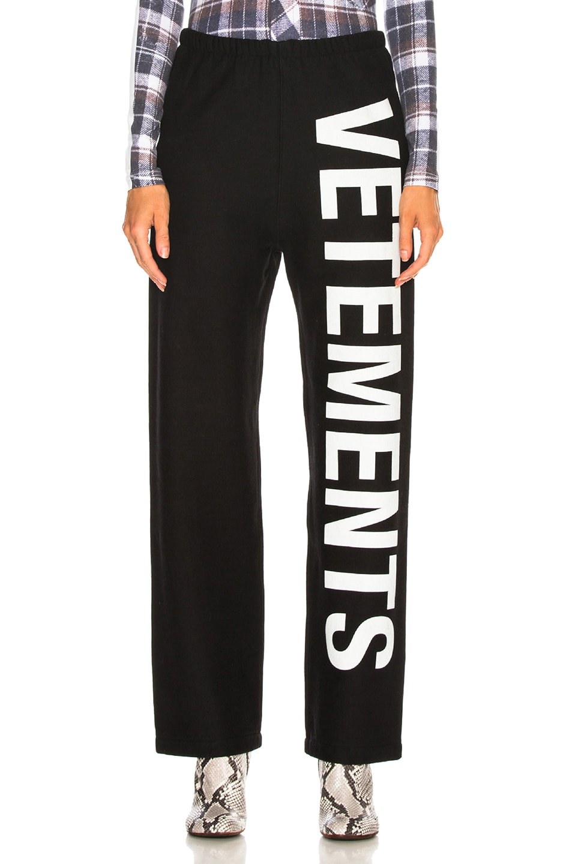 Image 1 of VETEMENTS Logo Sweatpants in Black