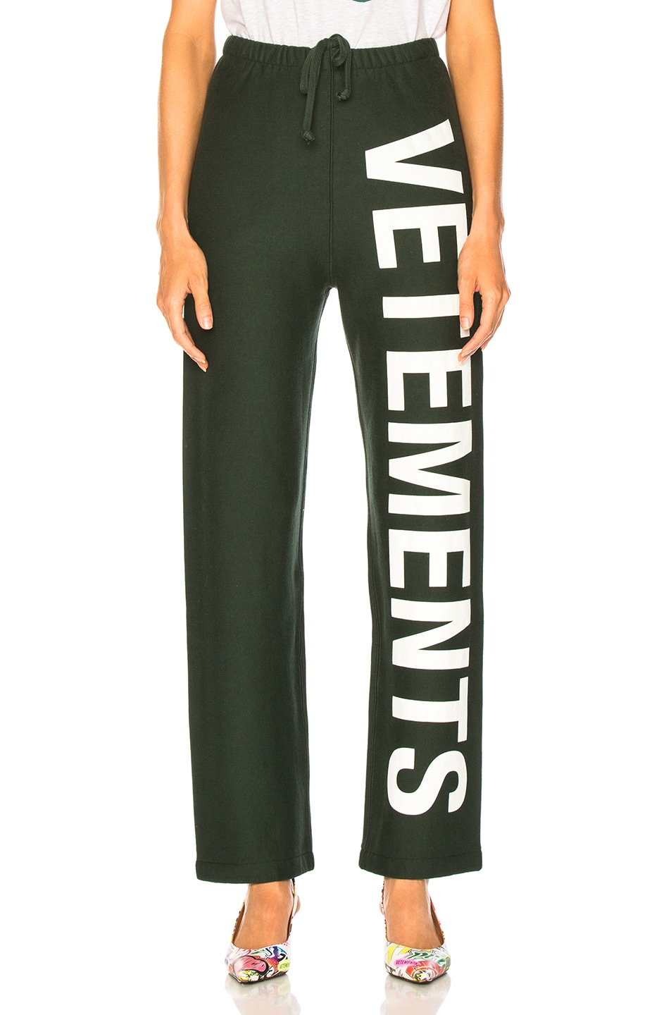Image 1 of VETEMENTS Logo Sweatpants in Dark Green